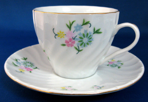Cup And Saucer Molded Swirl Floral Bouquet Gold Trim Mid Century 1960s