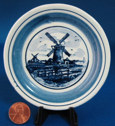 Delft Butter Pat Windmill Teabag Caddy Blue And White 1950s Small Plate Ring Dish - Antiques And Teacups - 1