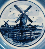 Delft Butter Pat Windmill Teabag Caddy Blue And White 1950s Small Plate Ring Dish - Antiques And Teacups - 2