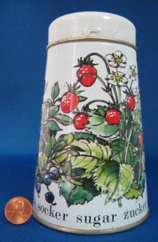 Tin Sugar Shaker Muffineer Strawberries Blueberries Retro 1960s England Enamelware - Antiques And Teacups - 1