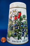 Tin Sugar Shaker Muffineer Strawberries Blueberries Retro 1960s England Enamelware - Antiques And Teacups - 2
