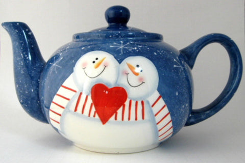 Teapot Snowman In Love On Folk Art Snowflakes Large Folk Art Style 1980s Christmas - Antiques And Teacups - 1