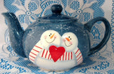 Teapot Snowman In Love On Folk Art Snowflakes Large Folk Art Style 1980s Christmas - Antiques And Teacups - 4