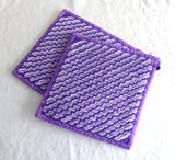 Teacup Themed Potholders Pair Padded Purple Lavender Hand Made Support Animal Charity