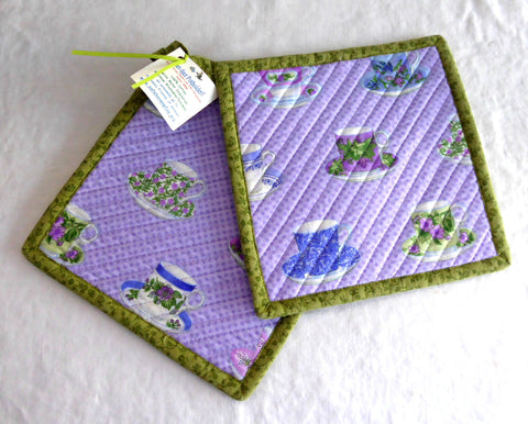 Purple Teacups Green Trim Potholders Padded Pair of Hand Made Support Animal Charity