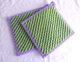 Purple Green Teacup Themed Potholders Pair Padded Hand Made Support Animal Charity