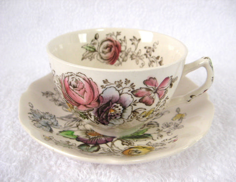 Cup And Saucer Johnson Brothers Sheraton Floral Polychrome 1920s - Antiques And Teacups - 1