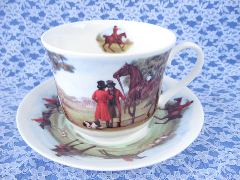Roy Kirkham Tally Ho Breakfast Size Cup And Saucer English Hunt Scenes Bone China - Antiques And Teacups - 1