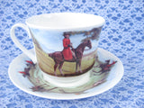 Roy Kirkham Tally Ho Breakfast Size Cup And Saucer English Hunt Scenes Bone China - Antiques And Teacups - 2