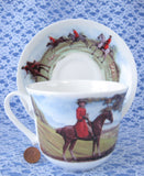 Roy Kirkham Tally Ho Breakfast Size Cup And Saucer English Hunt Scenes Bone China - Antiques And Teacups - 3