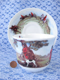 Roy Kirkham Tally Ho Breakfast Size Cup And Saucer English Hunt Scenes Bone China - Antiques And Teacups - 4