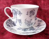 Blue Victorian Breakfast Size Roy Kirkham Cup And Saucer English Bone China New Large - Antiques And Teacups - 2
