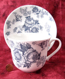 Blue Victorian Breakfast Size Roy Kirkham Cup And Saucer English Bone China New Large - Antiques And Teacups - 3