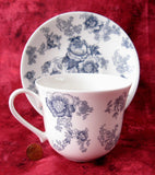 Blue Victorian Breakfast Size Roy Kirkham Cup And Saucer English Bone China New Large - Antiques And Teacups - 4