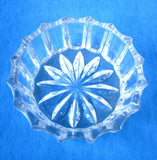 Open Salt Salt Dish Paneled Star Bottom Individual Clear 1950s USA Salt Cellar Teabag Holder - Antiques And Teacups - 1