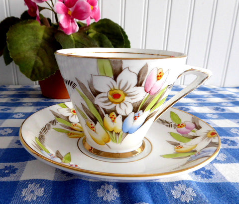 Art Deco Cup And Saucer Spring Flowers Enamel Phoenix England Forester 1930s - Antiques And Teacups - 1