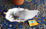 Royal Patrician Leaf Shape Tea Bag Caddy White Roses Violets England Bone China - Antiques And Teacups - 3