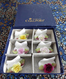 Coalport Bone China Roses Place Card Holders Set Of 6 Boxed Hand Made 1950s - Antiques And Teacups - 4