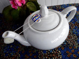 Figural Teapot Shape Teapot Drip Catcher Resin Blue And White Striped Teapot Unused - Antiques And Teacups - 2