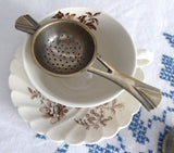 Vintage Tea Strainer Over The Cup Strainer With Drip Cup 1920s Art Deco 2 Piece - Antiques And Teacups - 3