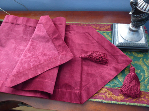Gorgeous Red Damask Velvet Fabric Table Runner 1980s Tassels 70 Inches Long