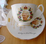 Queen Elizabeth II Diamond Jubilee Cup And Saucer English Bone China 2012 - Antiques And Teacups - 1