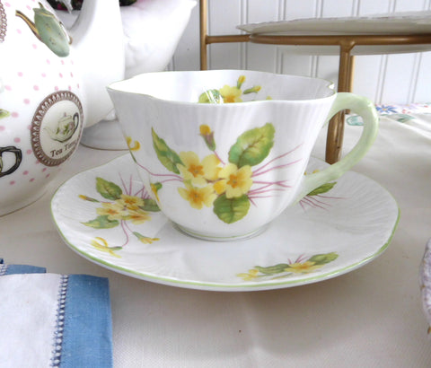 Shelley Dainty Primrose Cup and Saucer England Vintage Green Trim