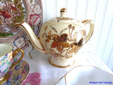 Sadler Teapot Gold And Yellow 1950s Floral Large Vintage Tea Pot 4-6 Cups