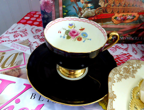 Shelley Shiny Black Ripon Cup and Saucer 1950s Rose And Red Daisy Bead Trim