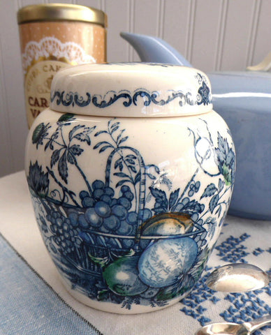 Tea Caddy Masons Fruit Basket Polychrome Blue Transferware Ginger Jar 1940s Tea Canister - Antiques And Teacups - 1