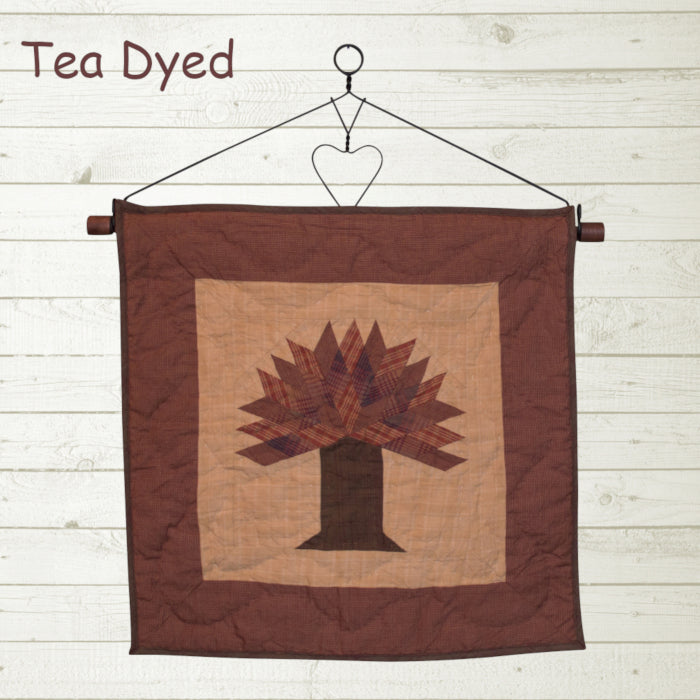 Autumn Tree Tea Dyed Quilt Block