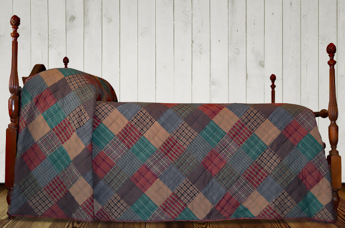 Lincoln Plaid Hand Quilted Bedspread