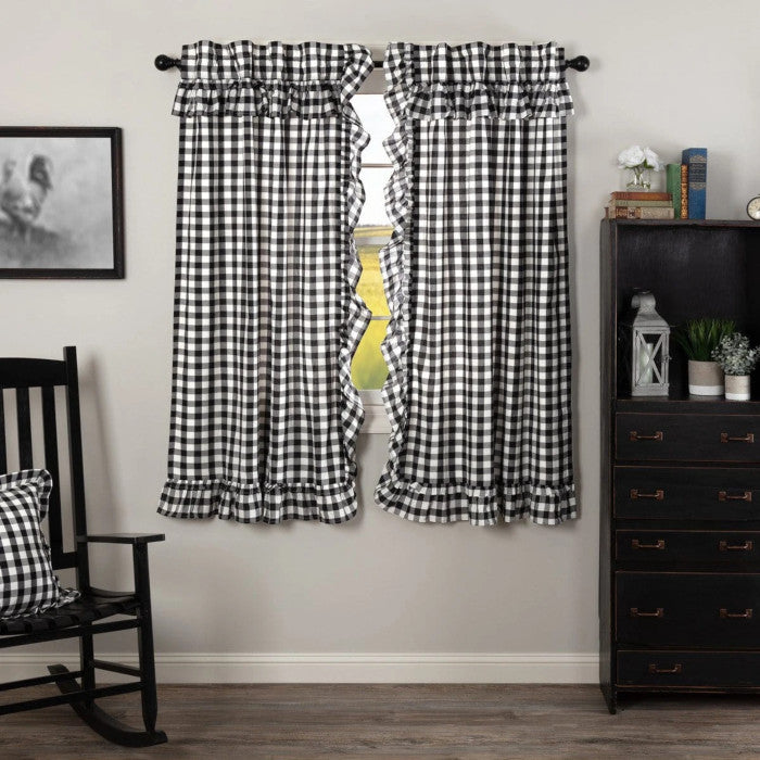 "Annie Buffalo Black Check Ruffled 63"" Panels"
