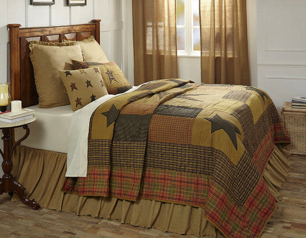 Stratton Quilt with Burlap Natural Euro Shams