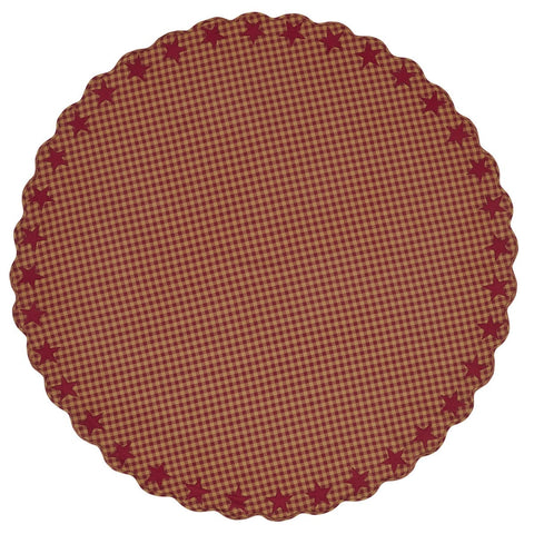 Burgundy Star Round Tablecloth - Retro Barn Country Linens - 1