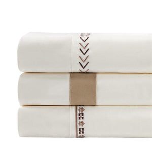 Cream Sheet Set with Tan Flange