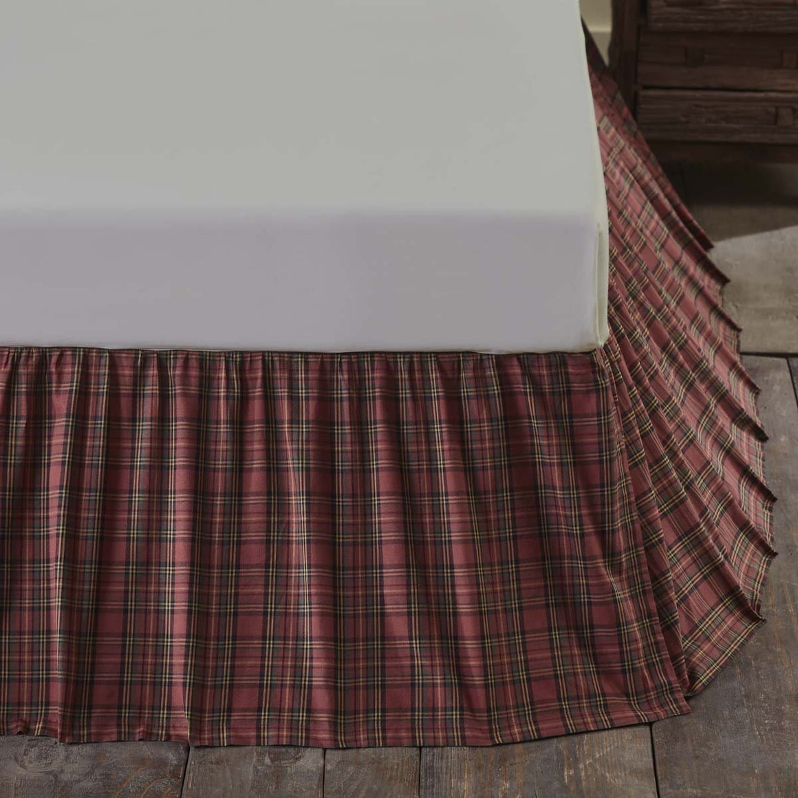 Tartan Red Plaid Bedskirt 16""