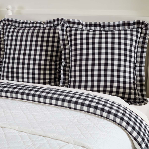 Annie Buffalo Check Euro Sham - Black