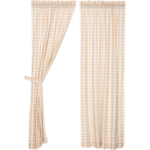 "Annie Buffalo Check 84"" Panel Set - Tan"