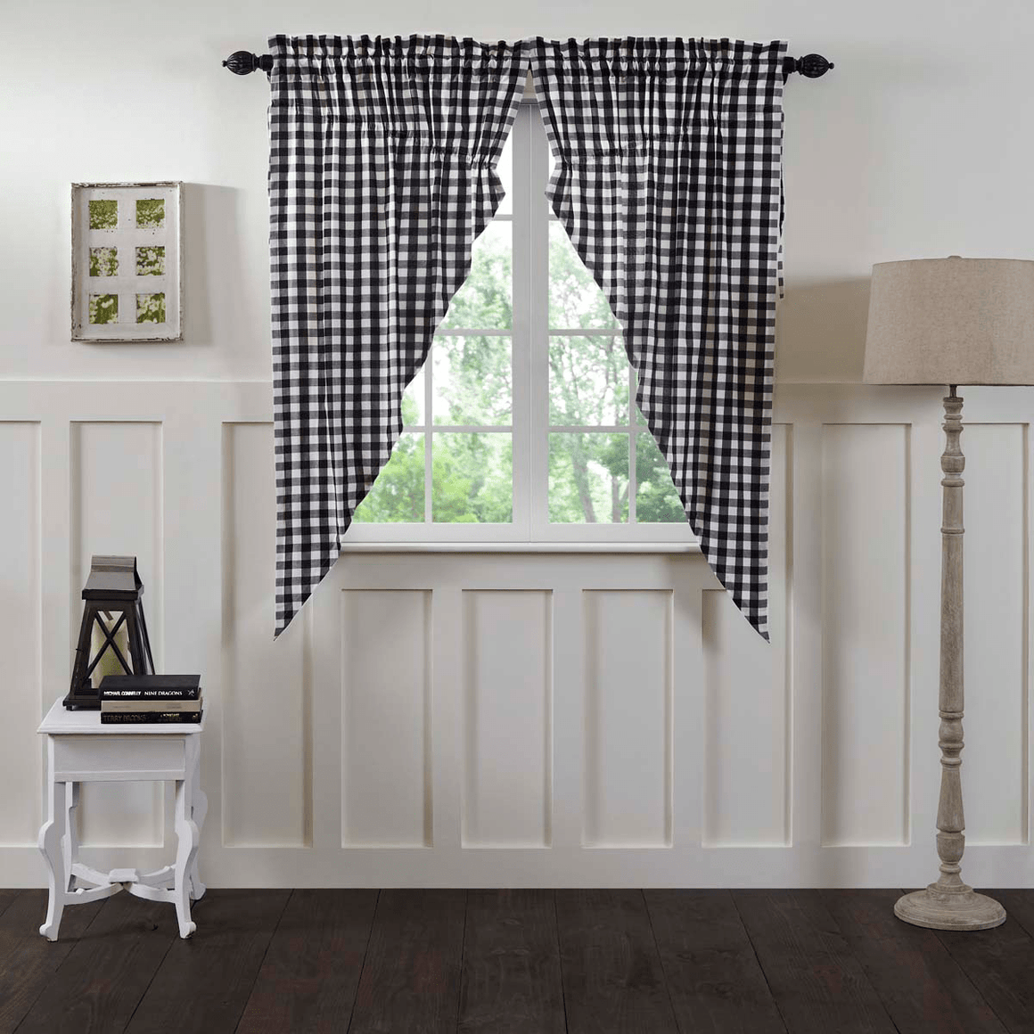 Annie Buffalo Check Prairie Curtain - Black