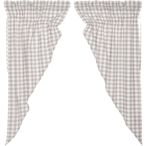 Annie Buffalo Check Prairie Curtain - Grey