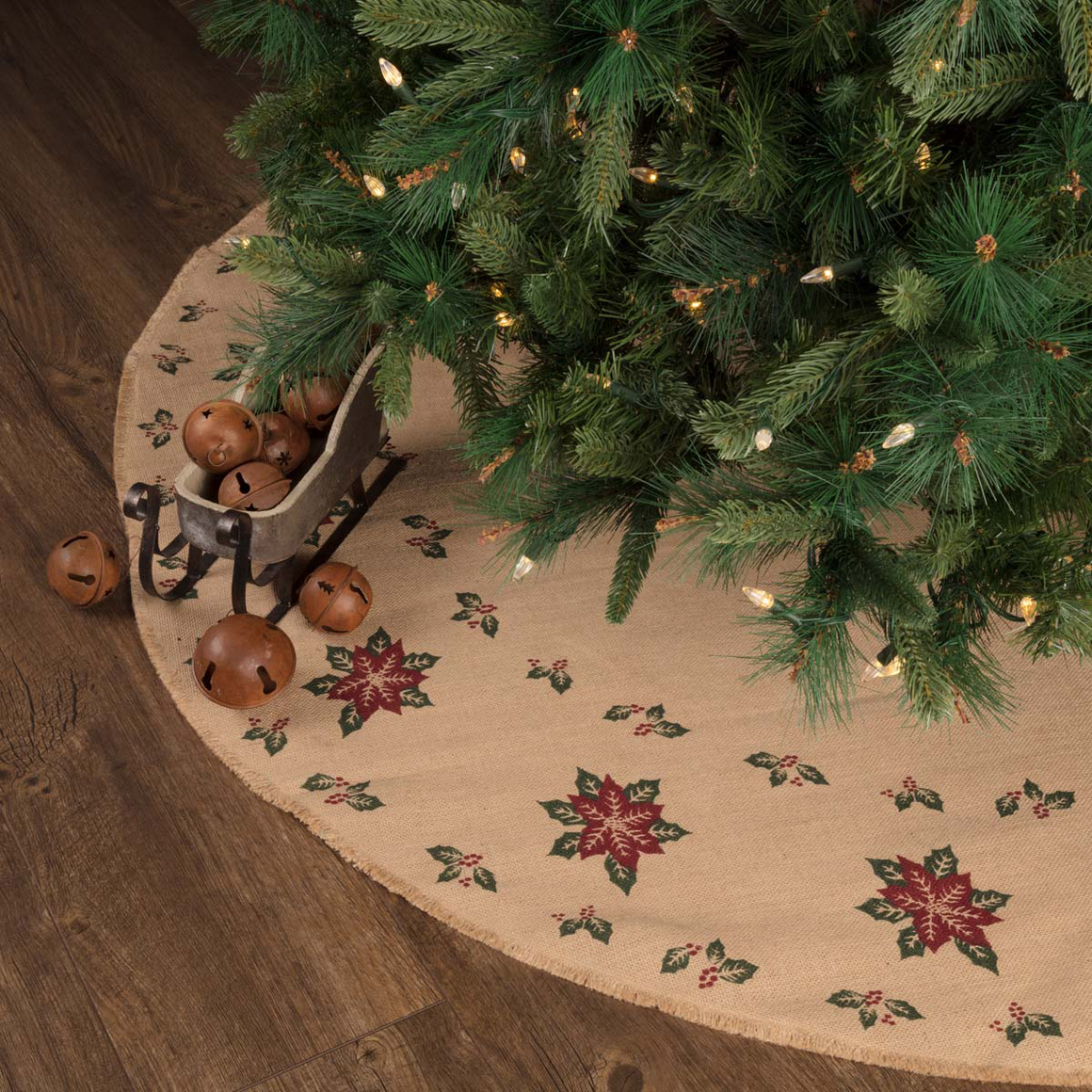 Poinsettia Jute Burlap Tree Skirt