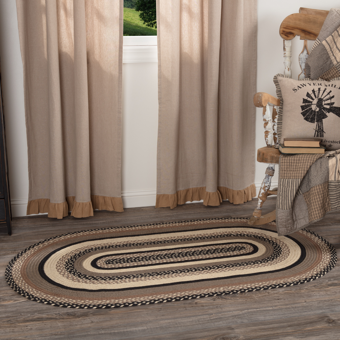 Sawyer Mill Charcoal Braided Oval Rug