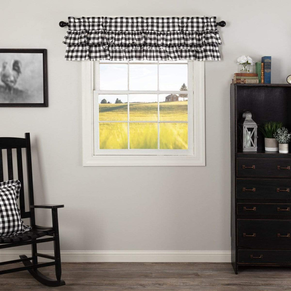 Annie Buffalo Check Ruffled Valance - Black