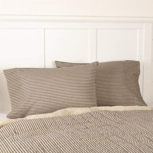 Sawyer Mill Charcoal Ticking Stripe Pillow Case Set