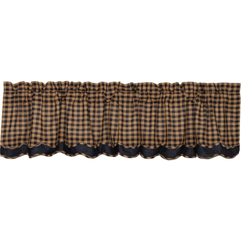 Navy Check Layered Valance
