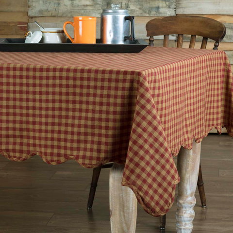 Burgundy Check Tablecloth