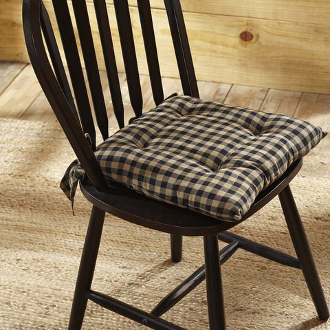 Navy Check Chair Pad
