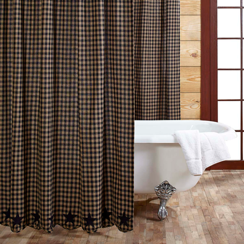 Black Star Country Shower Curtain