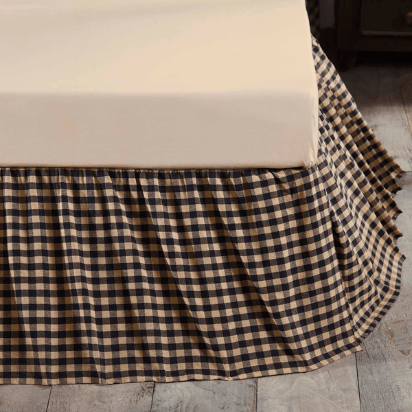 Black Check Bedskirt 16 Quot Retro Barn Country Linens